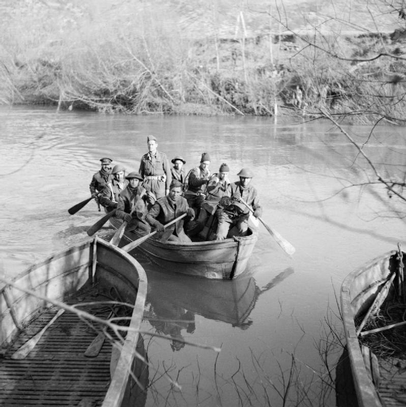 Infantry crossing in assault boats