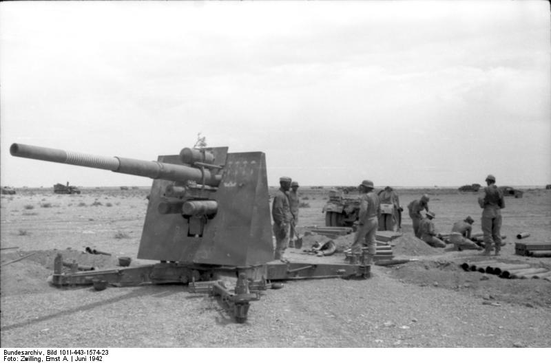 German crew preparing an 88 dual-purpose gun firing position