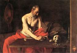 St Jerome, by Michelangelo Merisi da Caravaggio, 1607, at St John's Co-Cathedral, Valletta, Malta