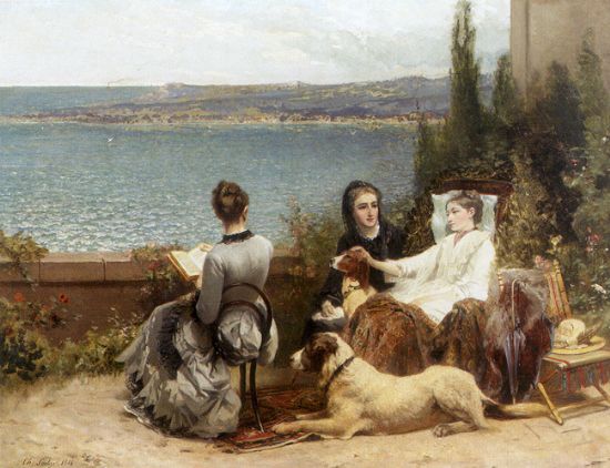 Charles soubre belgian summer by the sea ladies with their dogs1883 34x45