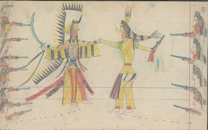 https://upload.wikimedia.org/wikipedia/commons/b/b8/Crow_warriors_and_Cheyenne_warriors_making_peace-_Ledger_drawing.jpg