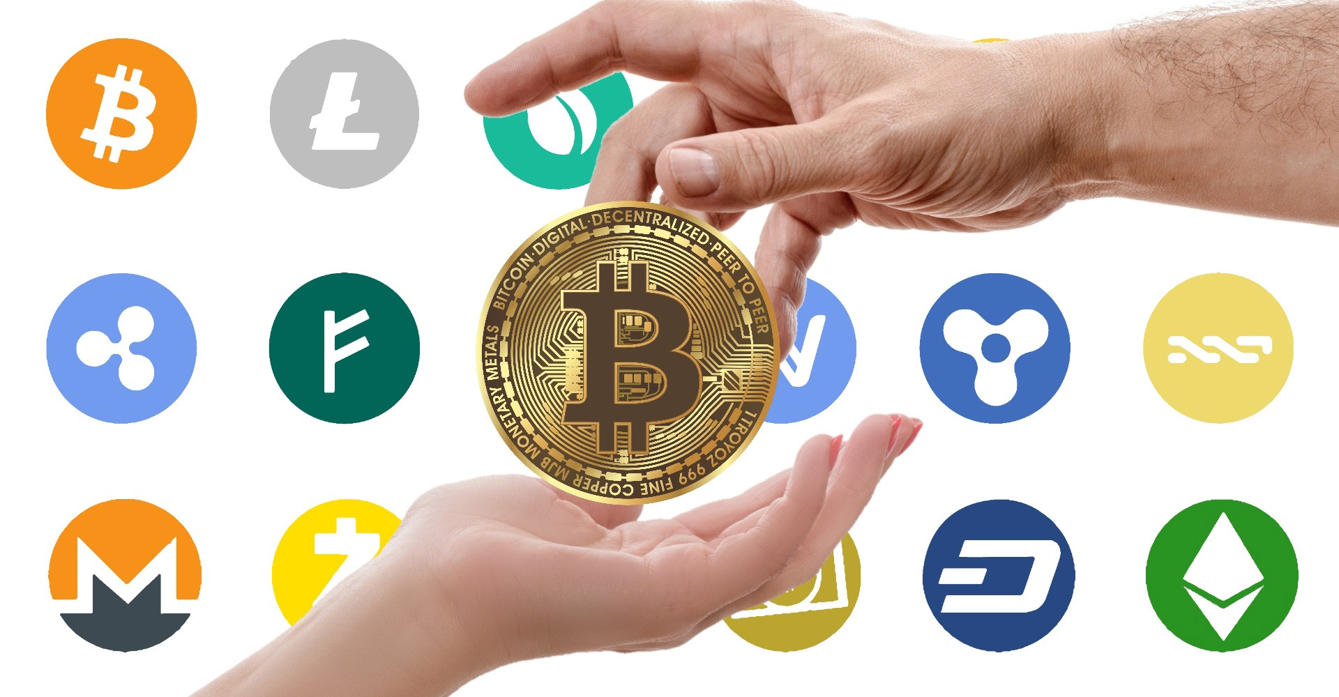 Cryptocurrencies logos and hand