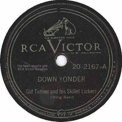 Standard RCA Victor 78 RPM label design from just after the end of World War II until 1954 Down Yonder.jpg