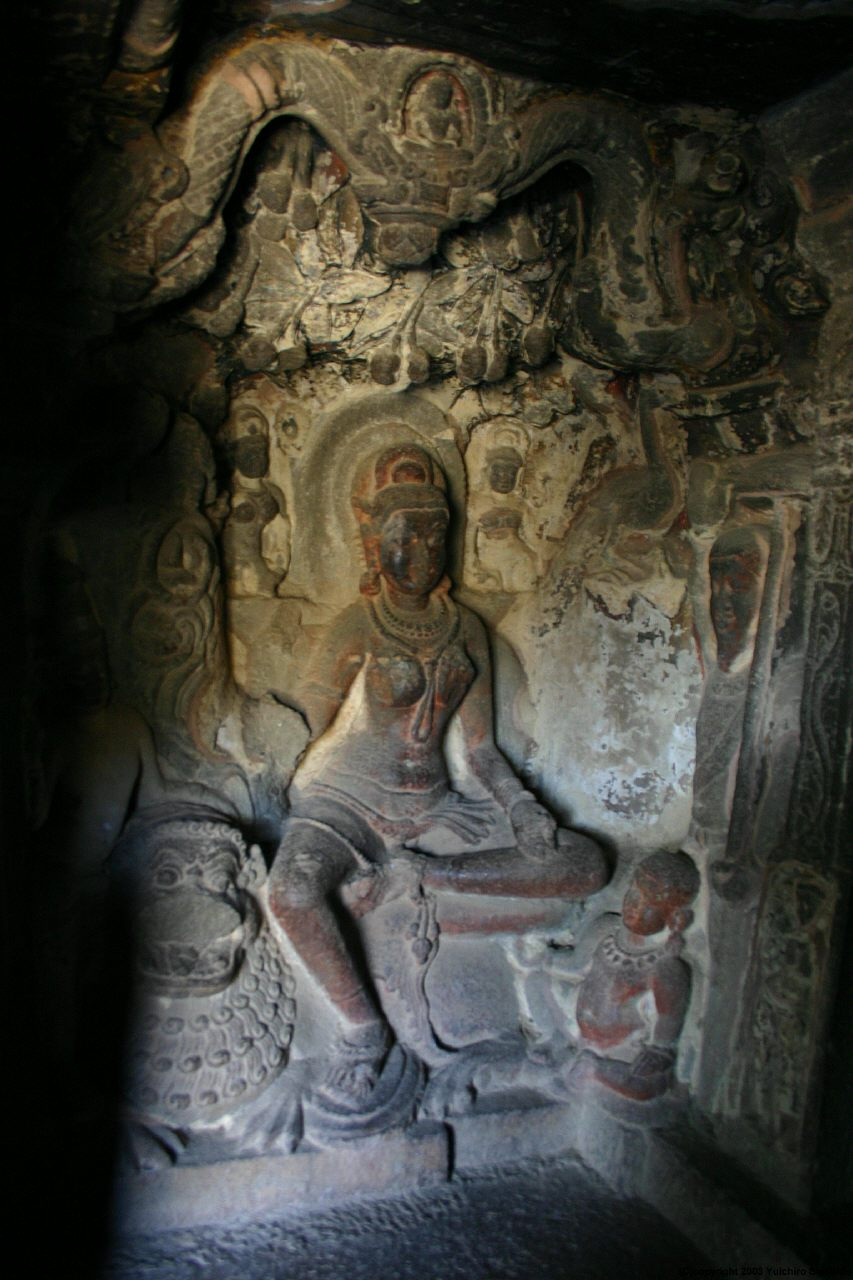 Ellora caves. Cave 34. The yakshini Ambika sculpture