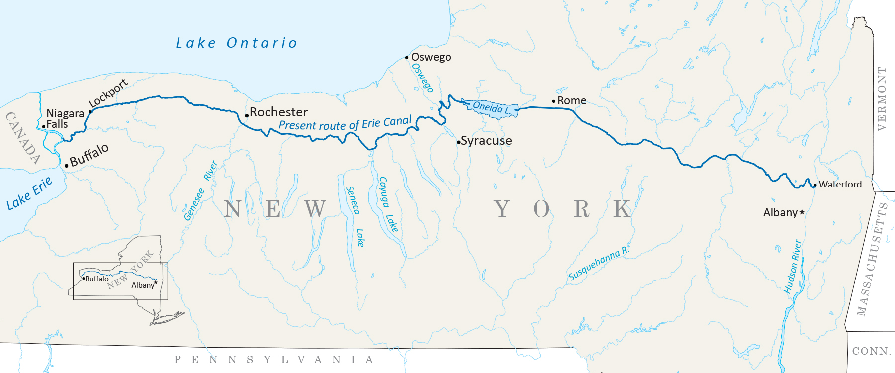 Map Of Erie Canal Erie Canal   Wikipedia