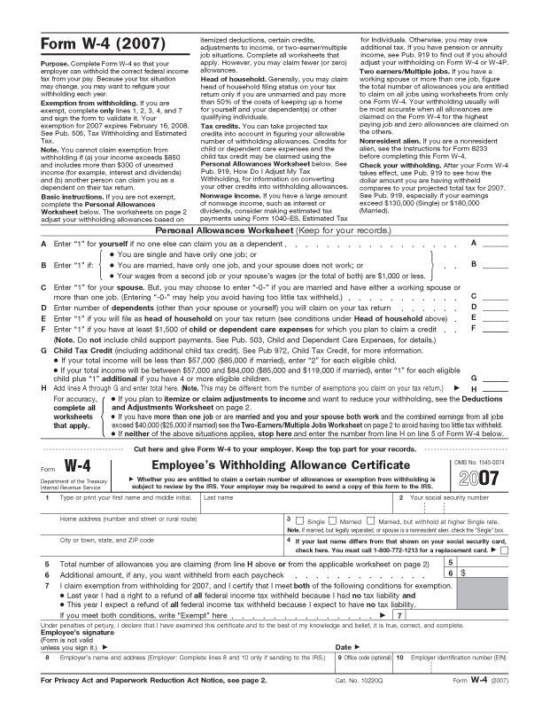 File:Form W-4, 2007.png - Wikimedia Commons