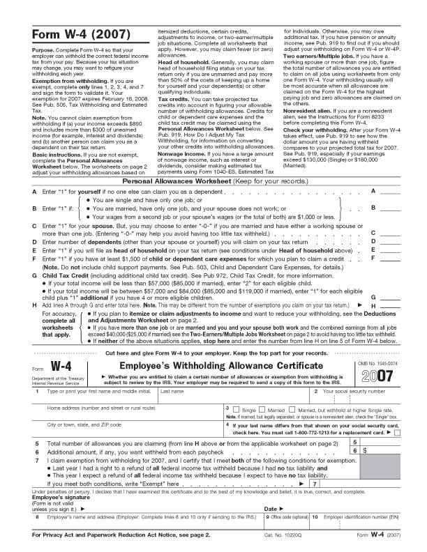 Description Form W-4, 2007.png
