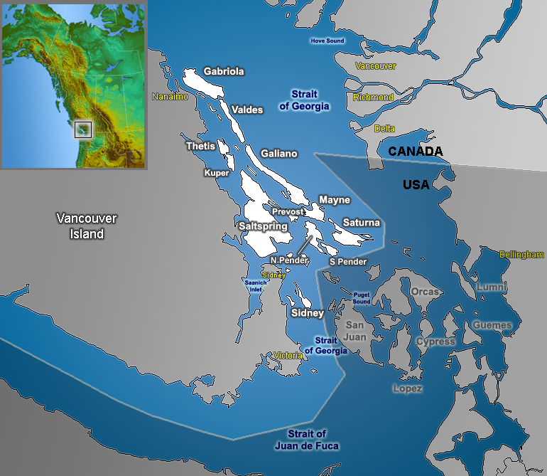 The Southern Gulf Islands, including Saturna.