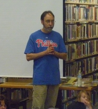 Gutman speaking at a school in 2011