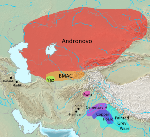 Archaeological cultures associated with Indo-Iranian migrations (after EIEC). The Andronovo, BMAC and Yaz cultures have often been associated with Indo-Iranian migrations. The GGC, Cemetery H, Copper Hoard and PGW cultures are candidates for cultures associated with Indo-Aryan movements. Indo-Iranian origins.png