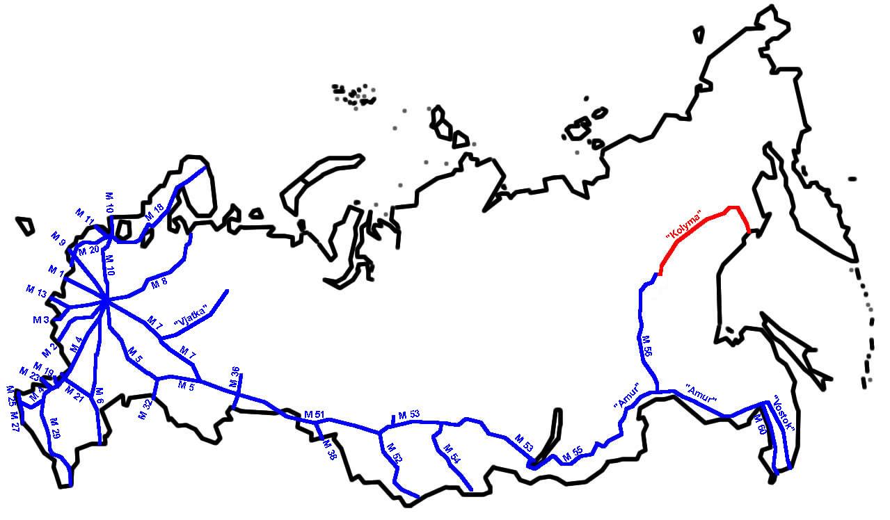 Mapa del tramo que recorre la autopista de Kolyma