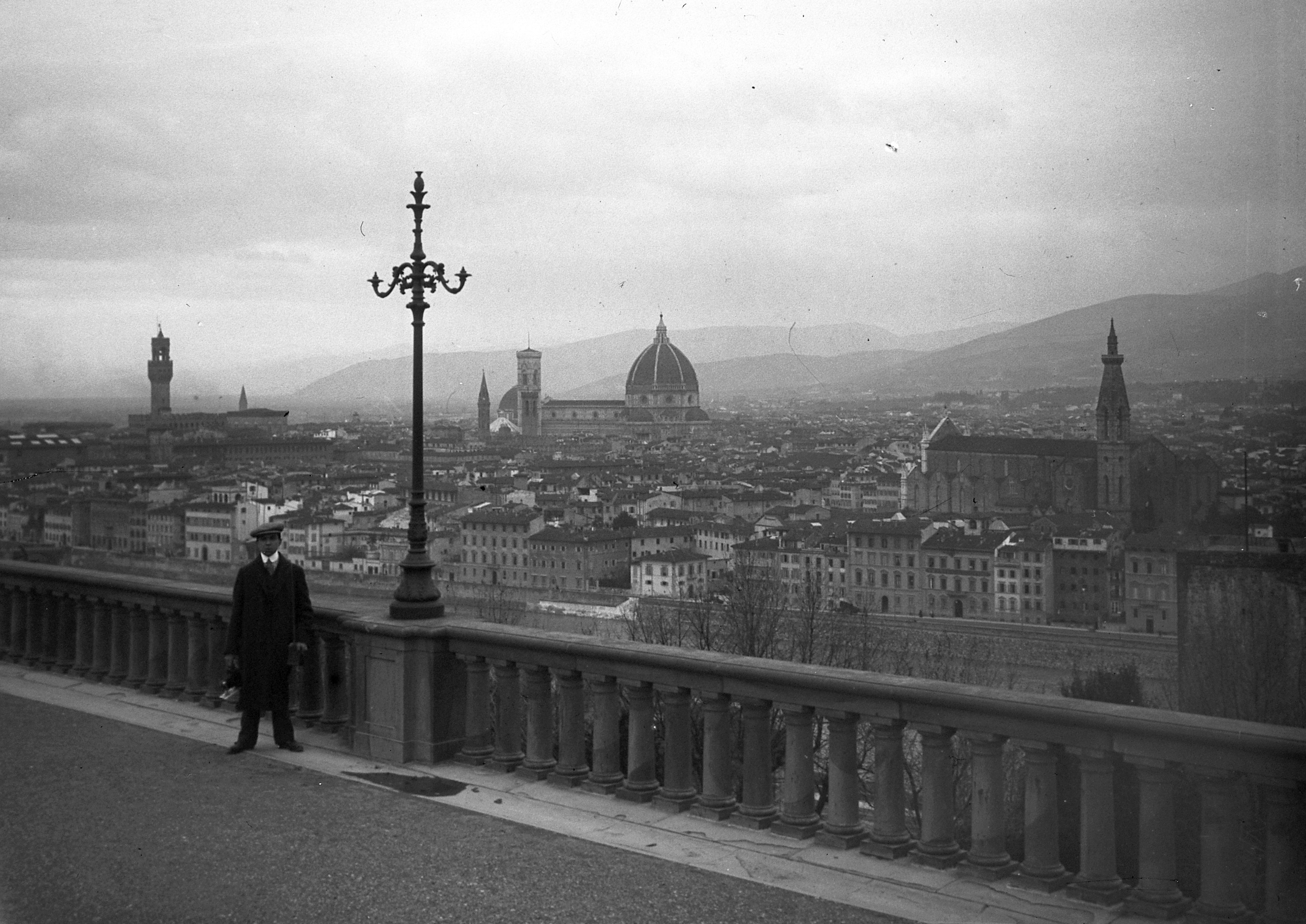 Piazzale Michelangelo. The Palazzo Vecchio is on the left, the Duomo and the Campanile in the middle, and the Santa Croce complex on the right