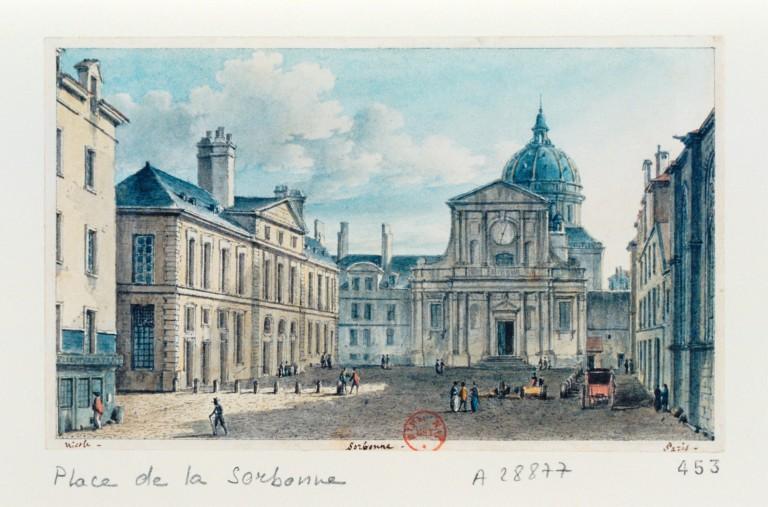 Fichier:La place et la chapelle de la Sorbonne, par Victor Jean Nicolle (1754-1826).jpeg