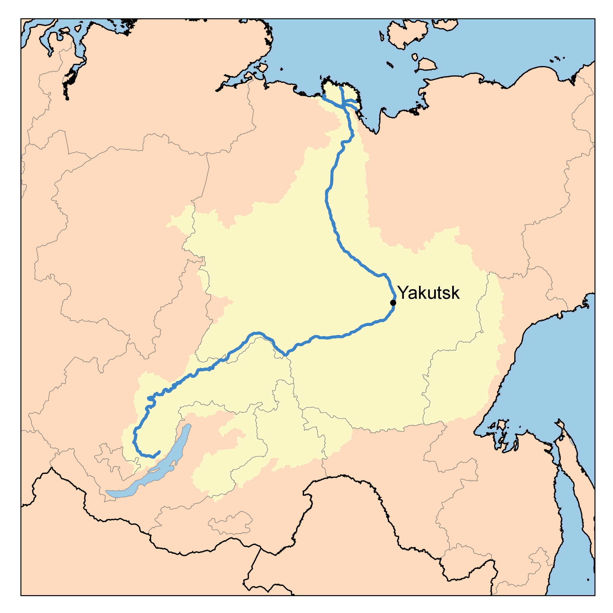 Yenisei River Map Chinese Military,Polit...