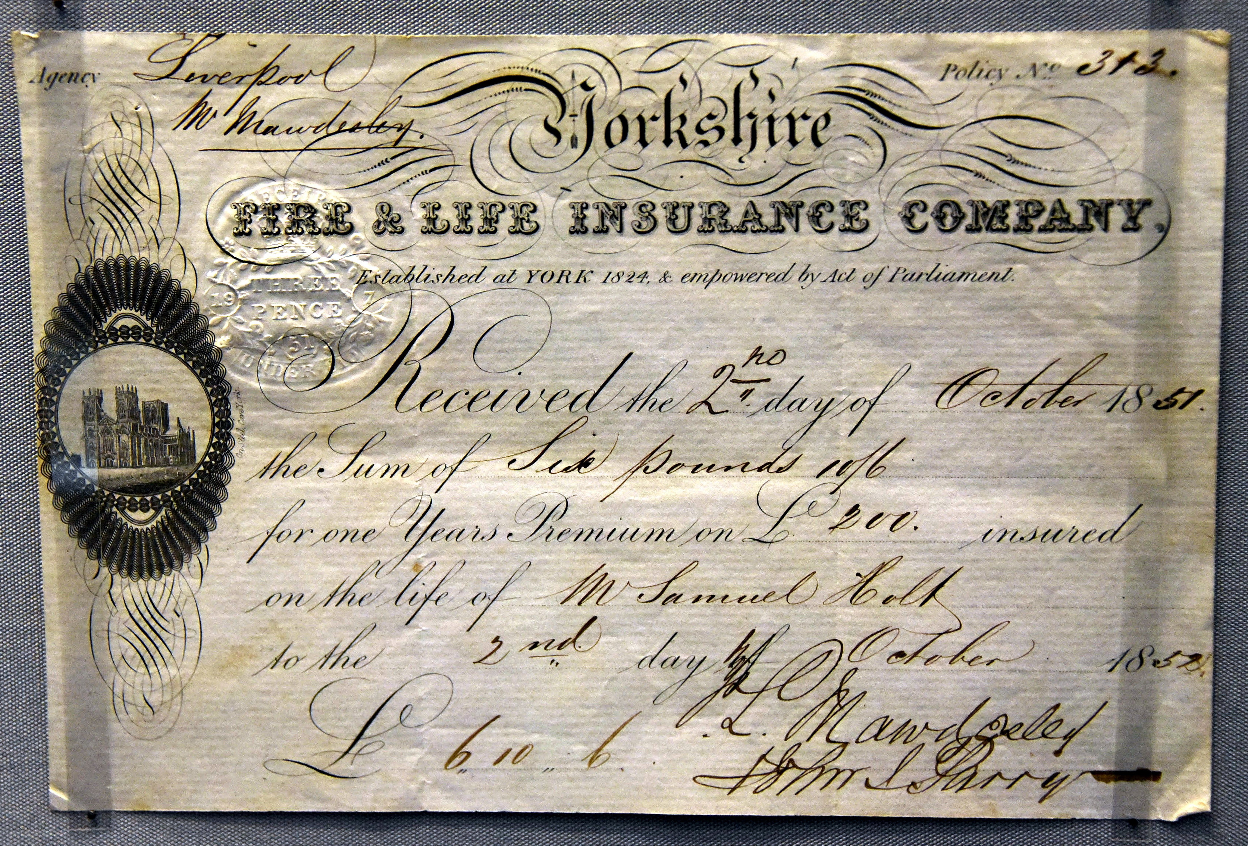 File:Life insurance certificate issued by the Yorkshire Fire & Life Insurance Company to Samuel Holt, Liverpool, England, 1851. On display at the British Museum in London.jpg - Wikipedia