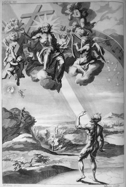 The Creation of Man, engraving from the 1688 edition, by John Baptist Medina