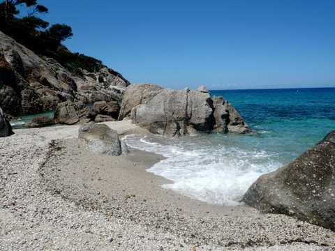 The island of Montecristo, the beach of Cala Maestra