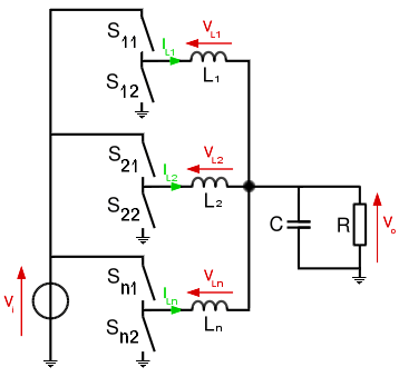 Fig. 9: Schematic of a generic synchronous n-phase buck converter.