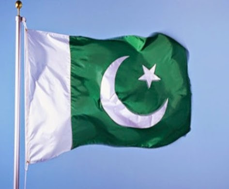 The flag of Pakistan flies