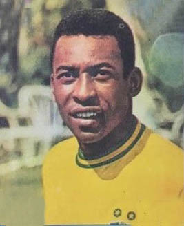 Pele trading card from the Mexico 70 series by Panini Panini pele photo only.jpg