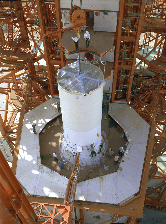 Saturn I SA-9 - 16.2.1965 Pegasus-1_satellite_is_installed_on_top_of_a_Saturn_I_rocket