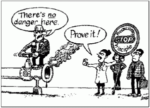 Comic Depicting the Precautionary Principle, by Maxweiss1. Creative Commons Attribution-Share Alike 4.0 International license.