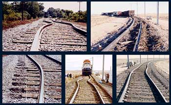 Thermal expansion of long continuous sections of rail tracks is the driving force for rail buckling. This phenomenon resulted in 190 train derailments during 1998-2002 in the US alone. Rail buckle.jpg