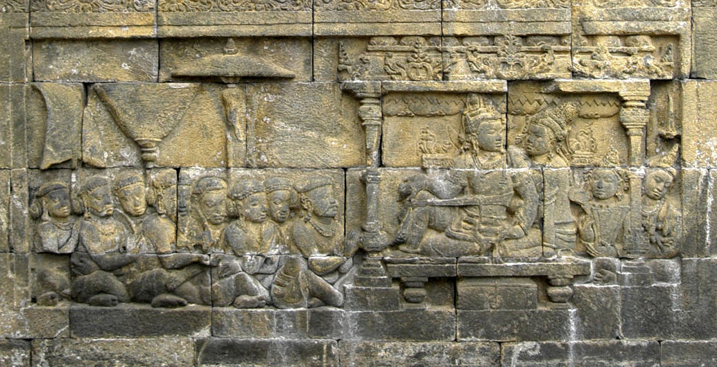 The bas relief of 8th century Borobudur depicted the palace scene of King and Queen accompanied by their subjects. Its strongly suggested that the relief depicted the actual scene of Sailendran royal court. [Gunawan Kartapranata]