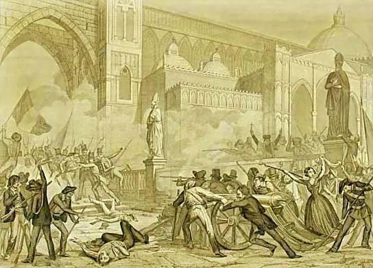 La revolución de Palermo (Sicilia) de 1848.