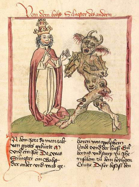 An image of Pope Sylvester II and the Devil.