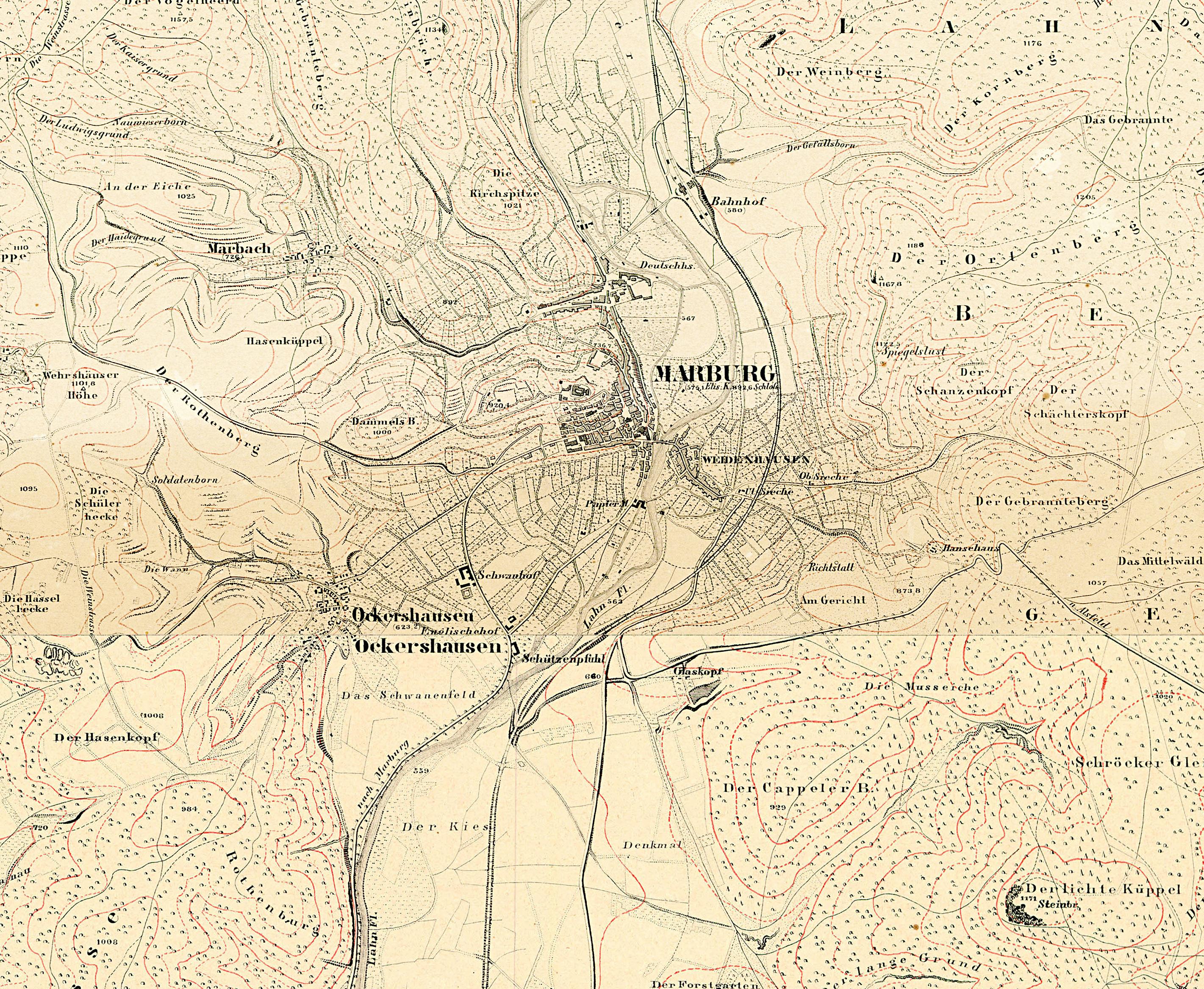 File Topografische Karte Marburg Stadt 1857 Jpg Wikimedia Commons