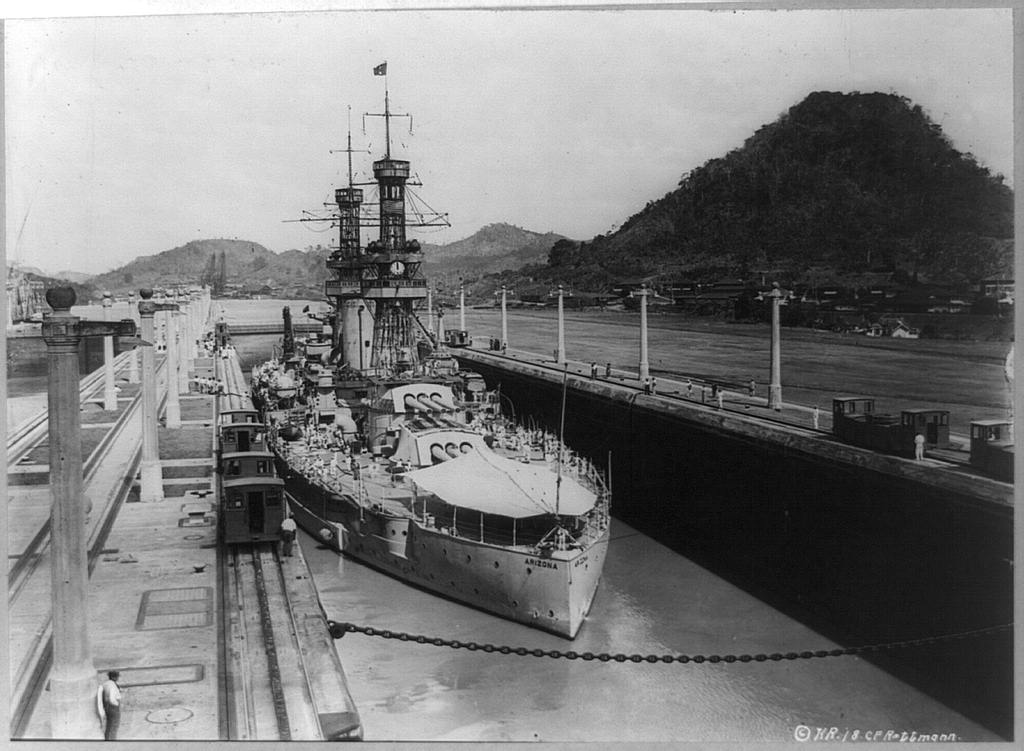 Arizona transits the Panama Canal in 1921