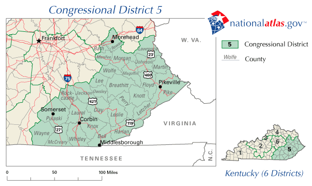 File:United States House of Representatives, Kentucky District 5 map ...