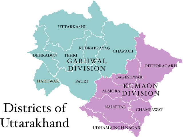 Image result for List of Uttarakhand District Map