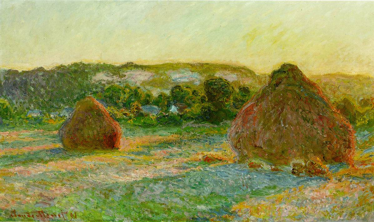 Grainstacks in the Sunlight, Midday, 1890 by Claude Monet (1840-1926, France) | WahooArt.com
