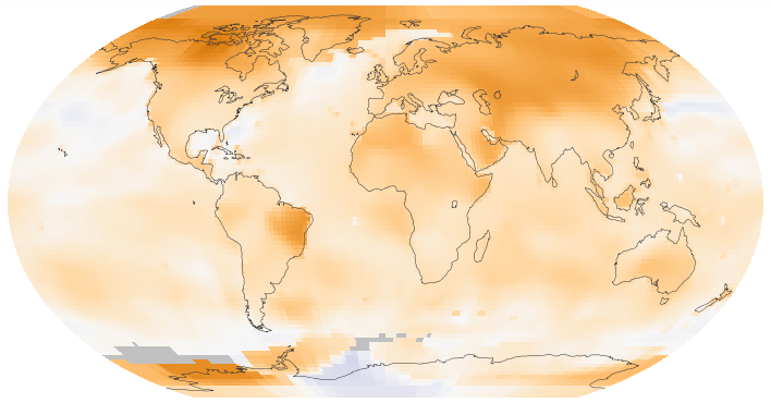 World map showing surface temperature trends between 1950 and 2014