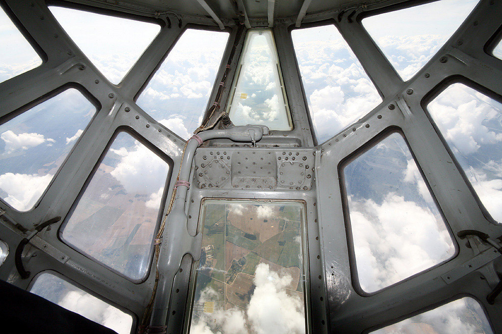 There's quite a view through the glass nose of the Ilyushin Il-76TD ...
