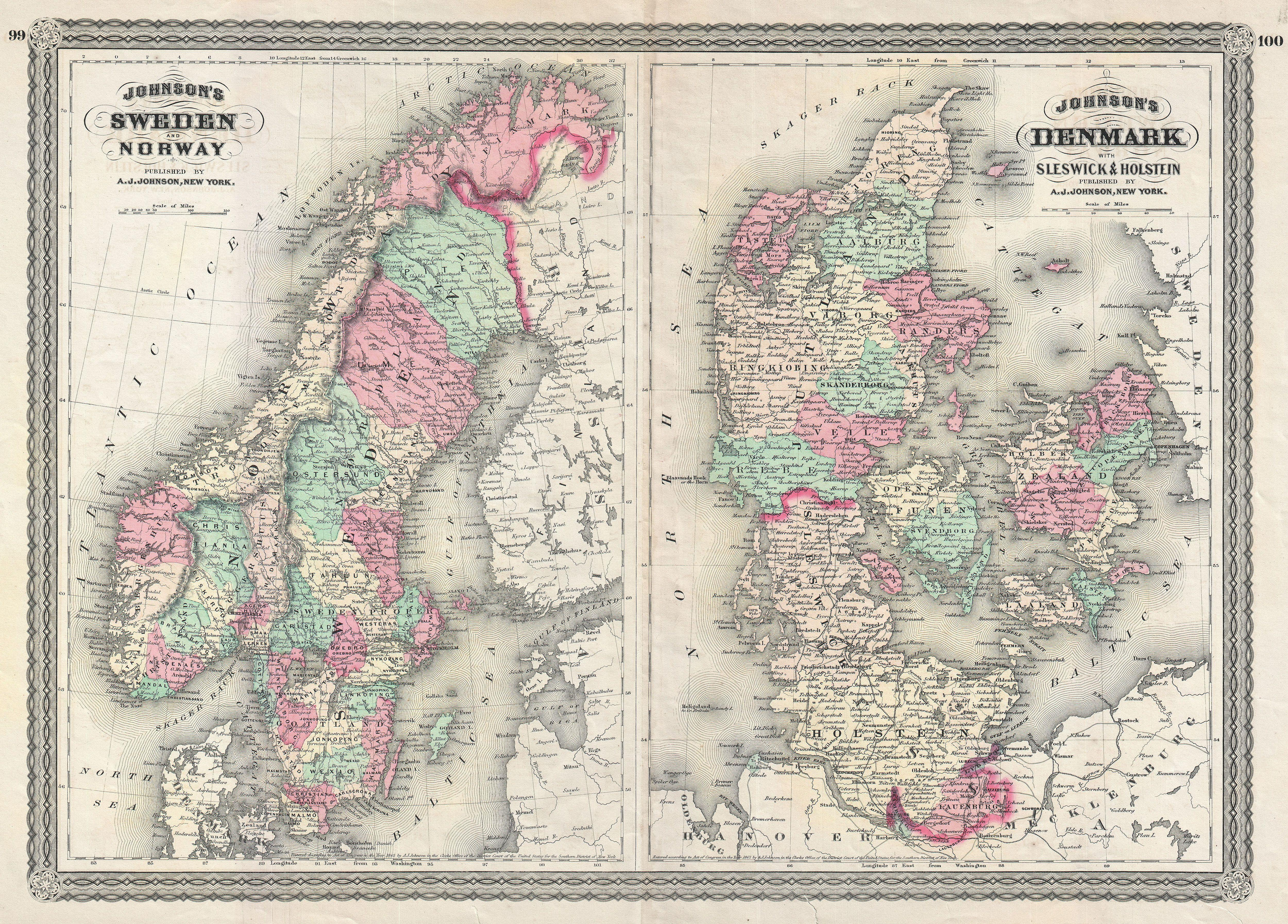 File Johnson Map Of Sweden Norway And Denmark Geographicus - Norway map jpg