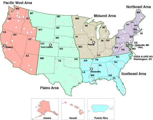 US map of the five ARS regions (USDA) ARS service regions.jpeg