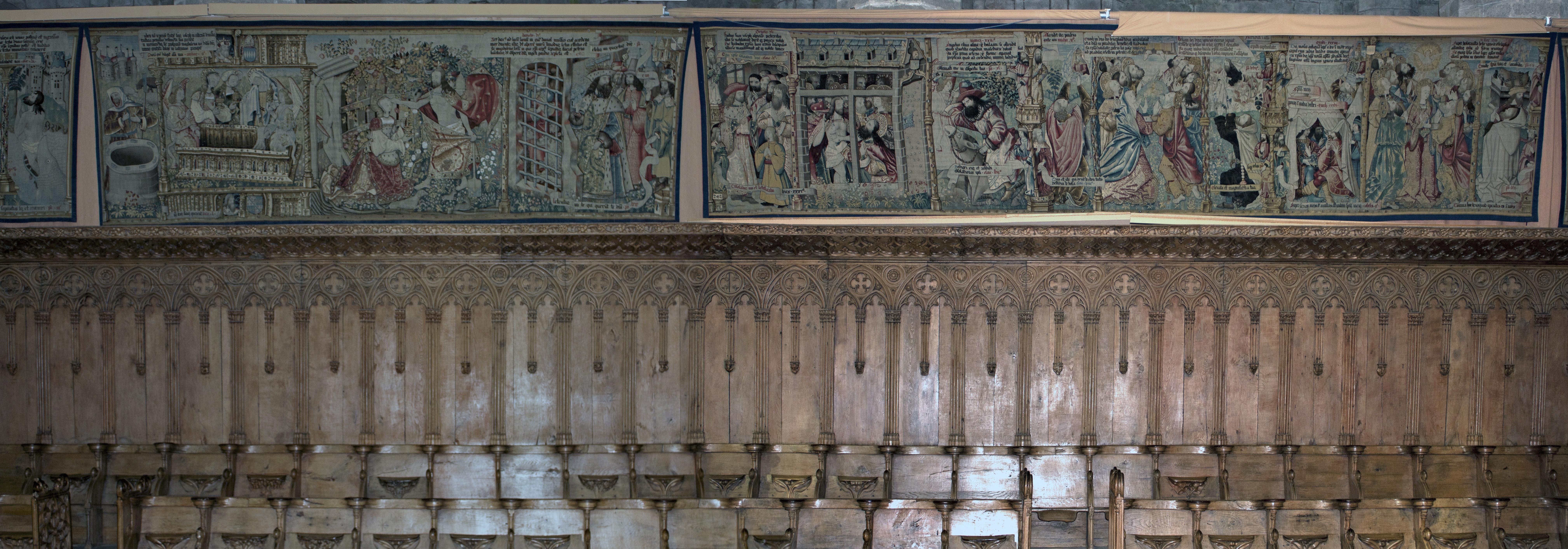 file abbaye saint robert de la chaise dieu stalles et tentures sud ch ur monastique 201121007. Black Bedroom Furniture Sets. Home Design Ideas