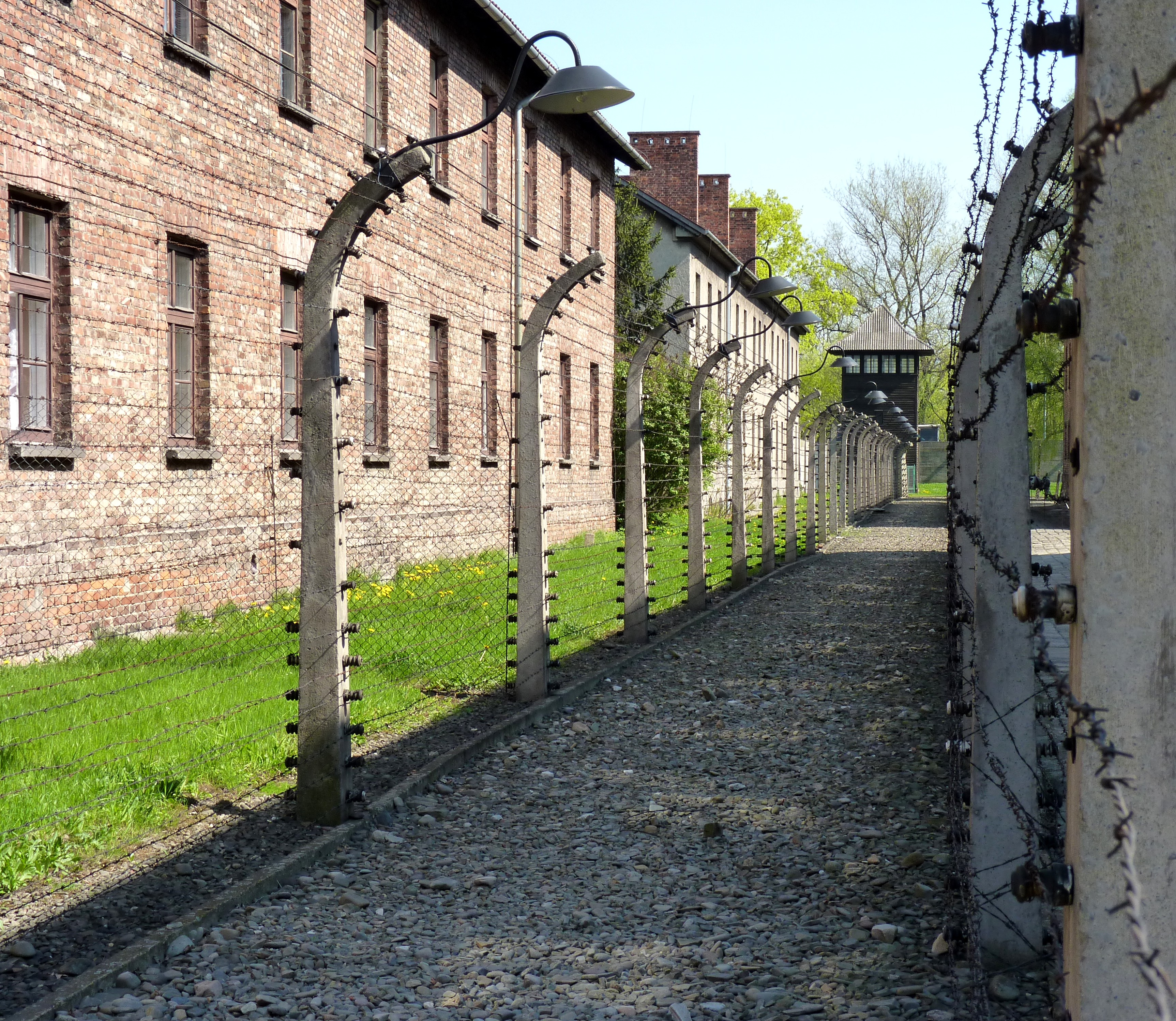 File auschwitz barracks and fence in the concentration camp jpg