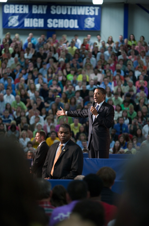 President Barack Obama at a town hall meeting on health care reform, 2009