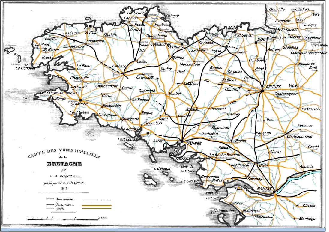 Voies romaines en Bretagne armoricaine - Page 3 Bizeul_Carte-VoiesRomaines_1842