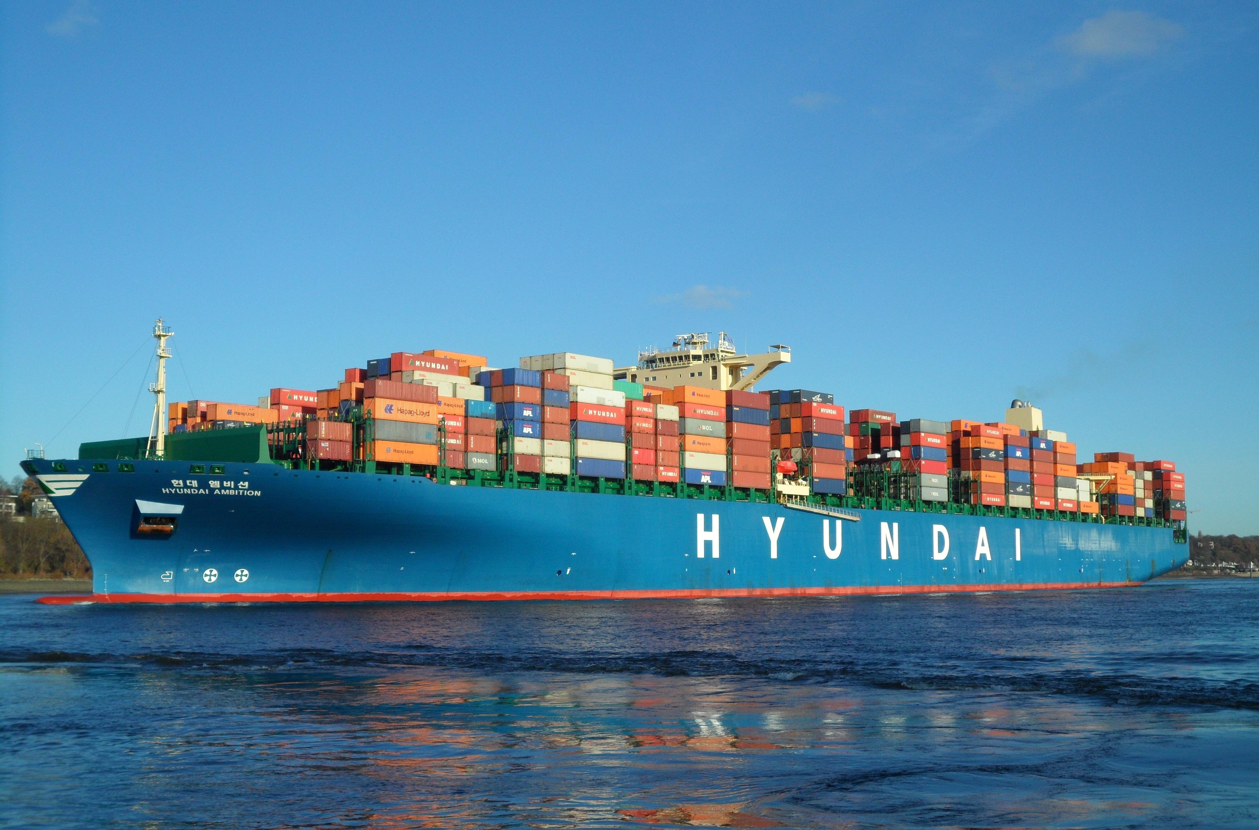 File Container Ship Hyundai Ambition Leaving Hamburg In