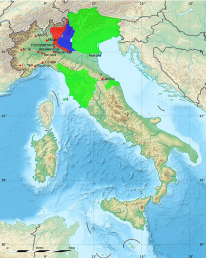 Land ceded by the Convention of Alessandria Ceded to France Neutral territory Retained by Austria Convention of Alessandria map.png