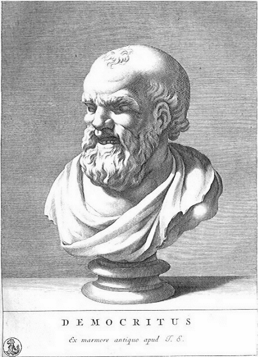 A bust of Democritus (or Democrites), who came up with the idea of indivisible atoms.