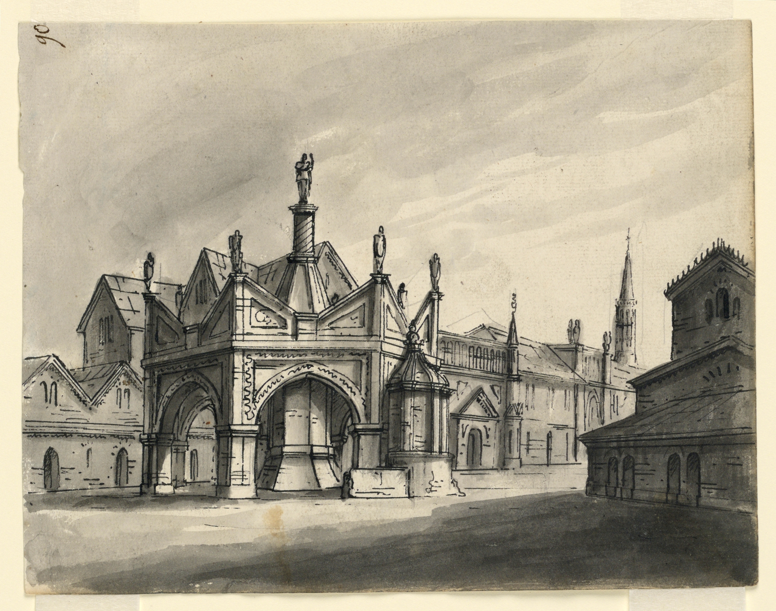 FileDrawing Stage Design Exterior Of Gothic Buildings 1831 CH 18359317