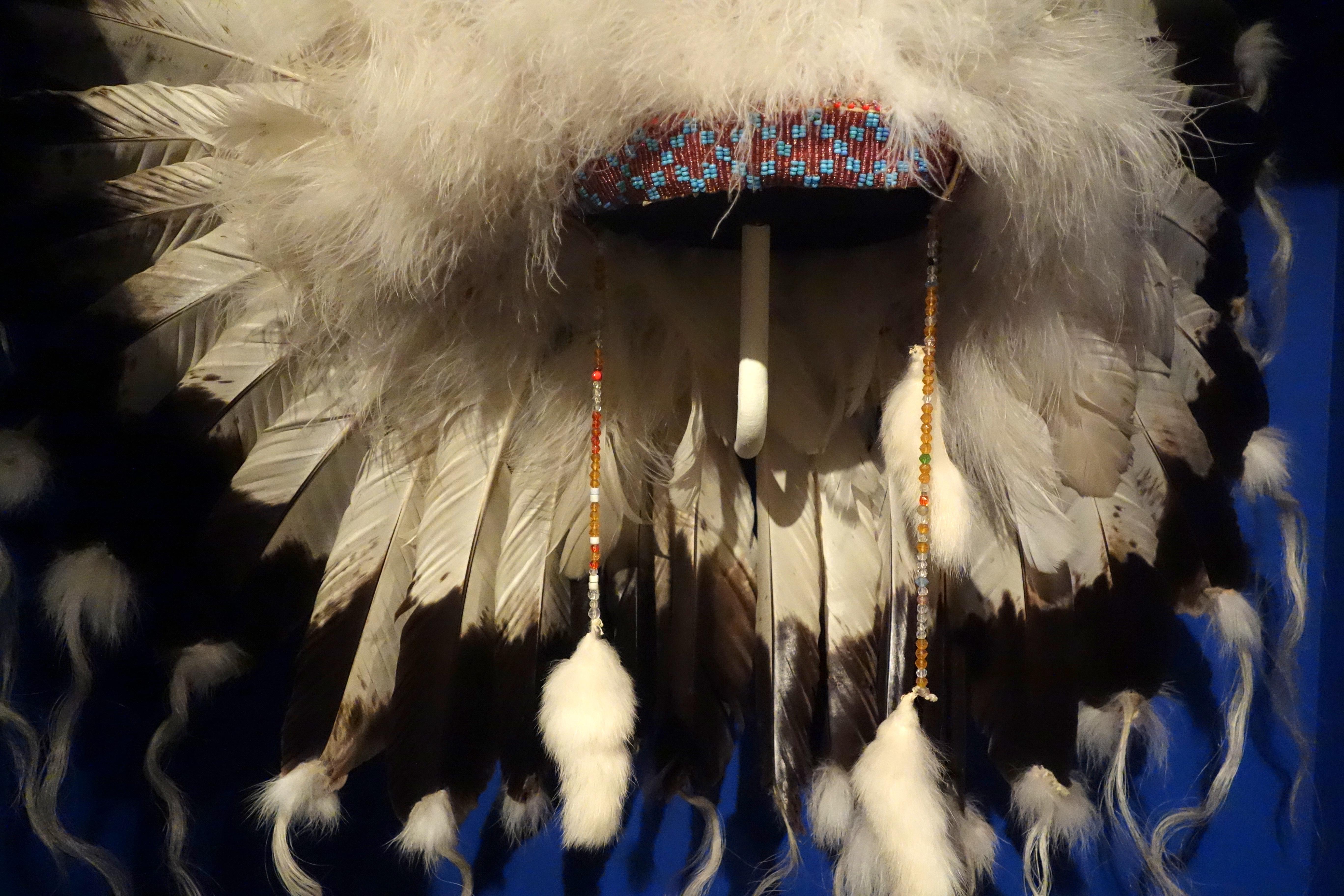 File Headdress Kainai Mid 1900s Eagle Feathers Wool Horse Hair Glass Beads Glenbow