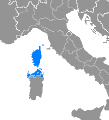 Italo-Dalmatian language spoken in Corsica and part of Sardinia