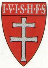 A coat-of-arms depicting a two-barred cross